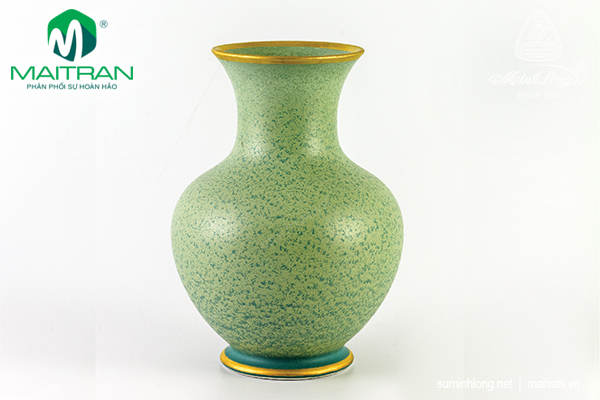 Bình hoa Hỏa Biến 22 cm Vân Ngọc Matte chỉ vàng