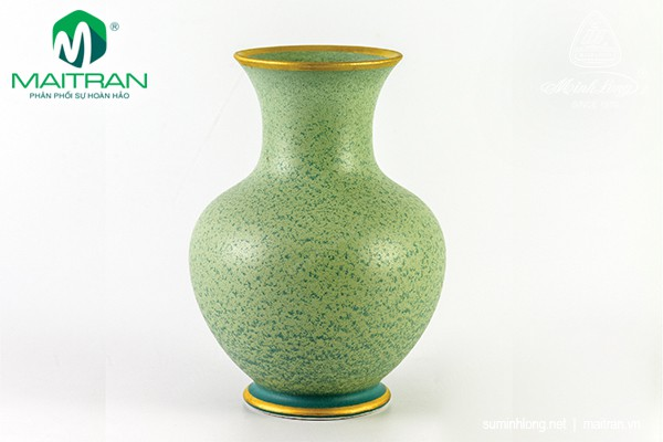 Bình hoa gốm sứ Minh Long Bình hoa Hỏa Biến 22 cm Vân Ngọc Matte chỉ vàng