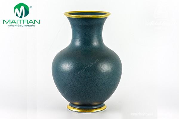Bình hoa gốm sứ Minh Long Bình hoa Xanh Ngọc Bích Matte chỉ vàng
