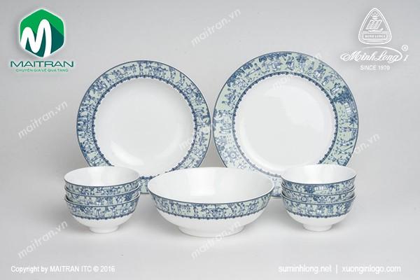 Bộ bàn ăn gốm sứ Minh Long Bộ bàn ăn 9 sản phẩm Vinh Quy Nhạt