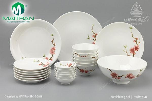 Bộ bàn ăn gốm sứ Minh Long Bộ bàn ăn 22 sp Daisy IFP Hoàng Đào