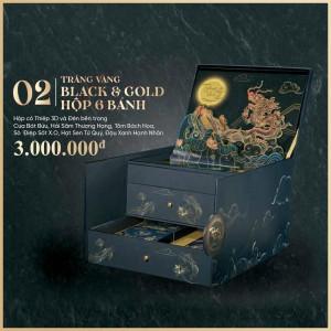 Bánh trung thu Kinh Đô Trăng vàng Black and Gold 6 bánh x 160g + Trà