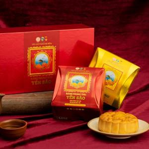 Bánh trung thu Yến sào Khánh Hòa hộp quà tặng 4 bánh 120g + 2 hộp tổ yến tinh chế 5g