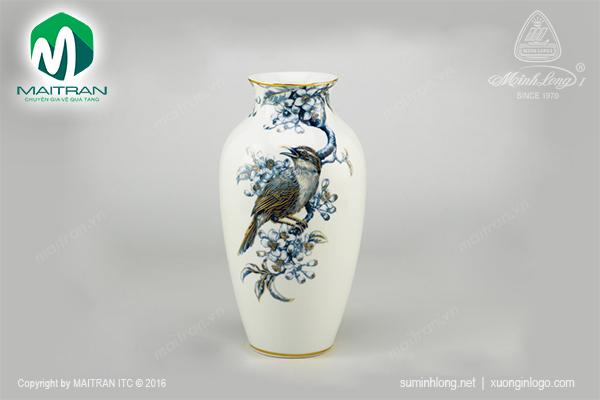 Bình hoa 27 cm Họa Mi Và Hoa Bưởi Cobalt vàng