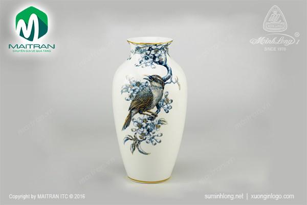 Bình hoa gốm sứ Minh Long Bình hoa 27 cm Họa Mi Và Hoa Bưởi Cobalt vàng