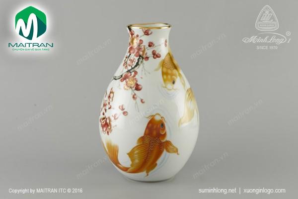 Bình hoa gốm sứ Minh Long Bình hoa Cá Chép 29 cm