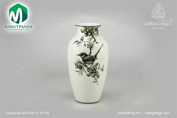 Bình hoa gốm sứ Minh Long Bình hoa Chích Chòe & Việt Quất trắng đen