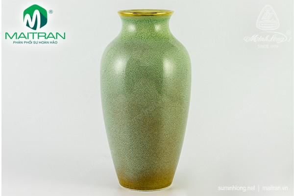 Bình hoa gốm sứ Minh Long Bình hoa Hỏa Biến 27 cm Vân Ngọc 5 chỉ vàng