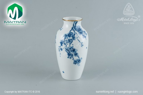 Bình hoa gốm sứ Minh Long Bình hoa Đào Cobalt 27 cm