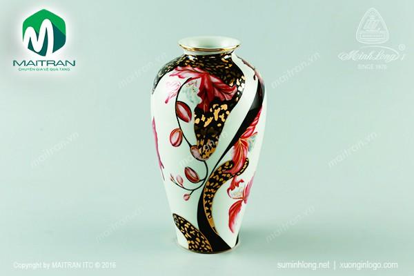 Bình hoa gốm sứ Minh Long Bình hoa Hoa Lan cách điệu