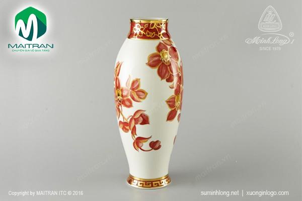 Bình hoa gốm sứ Minh Long Bình hoa Hoa Lan 36 cm