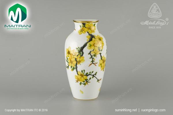 Bình hoa gốm sứ Minh Long Bình hoa 27 cm Hoa Mai