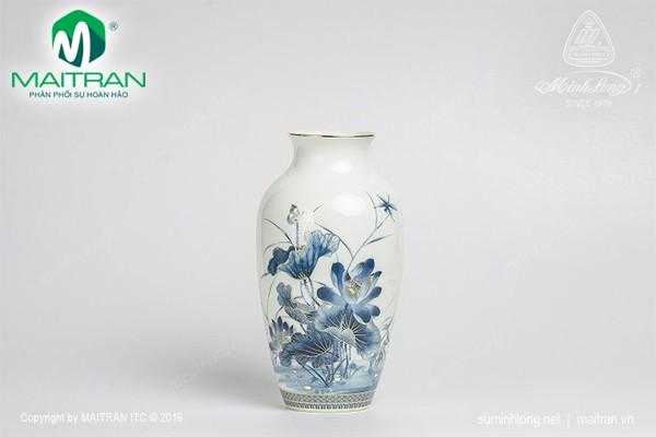 Bình hoa gốm sứ Minh Long Bình hoa Hoa Sen Vàng 27 cm