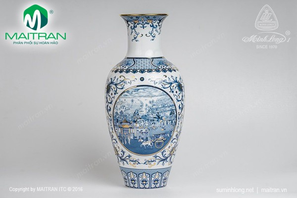 Bình hoa gốm sứ Minh Long Bình hoa Hồn Việt 30 cm