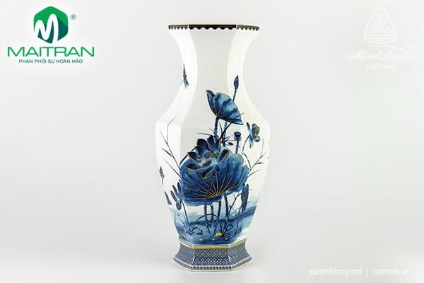 Bình hoa gốm sứ Minh Long Bình hoa Lộc Phát Tài Lộc 40 cm Sen Vàng Nền Trắng