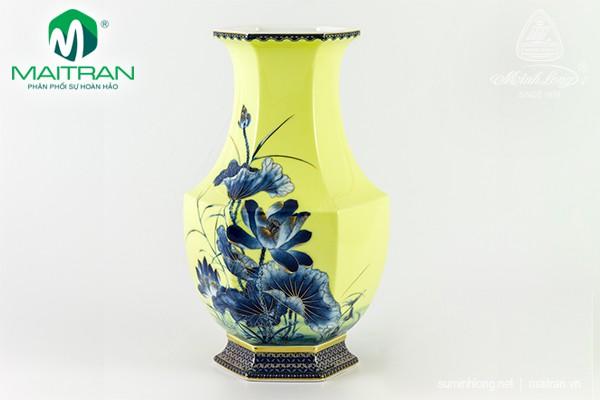 Bình hoa gốm sứ Minh Long Bình hoa Lộc Phát 28 cm Sen Vàng Nền Vàng