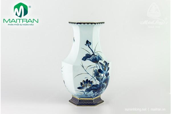 Bình hoa gốm sứ Minh Long Bình hoa Lộc Phát 28 cm Sen Vàng Nền Xanh