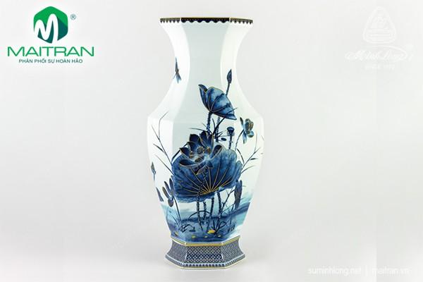 Bình hoa gốm sứ Minh Long Bình hoa Lộc Phát 40 cm Sen Vàng Nền Xanh