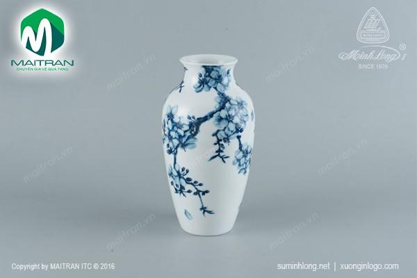 Bình hoa gốm sứ Minh Long Bình hoa Mai Cobalt 27 cm