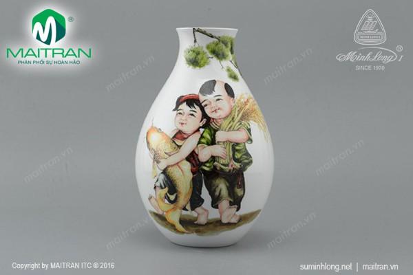Bình hoa gốm sứ Minh Long Bình hoa Ngũ Phúc