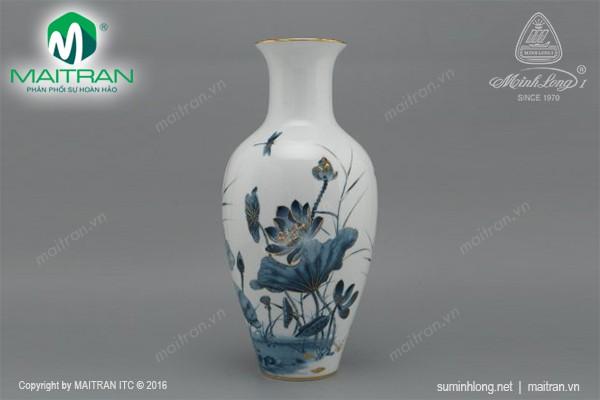Bình hoa gốm sứ Minh Long Bình hoa Sen Vàng 45 cm