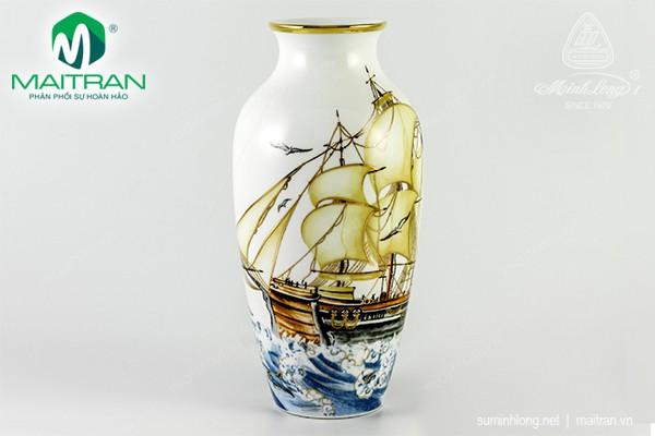 Bình hoa gốm sứ Minh Long Bình hoa Thuận Buồm Trang Trí Vàng 27 cm