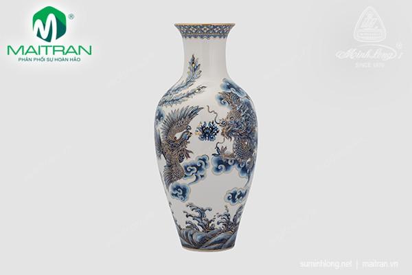 Bình hoa gốm sứ Minh Long Bình hoa Tứ Linh 45 cm