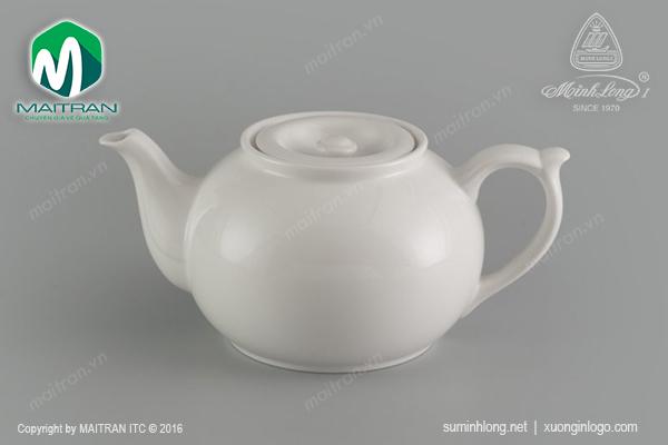 Bình trà gốm sứ Minh Long Jasmine 0.7L vòi lên + nắp