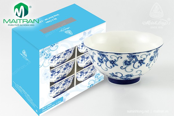 Chén gốm sứ Minh Long Bộ 06 chén cơm Tây Văn