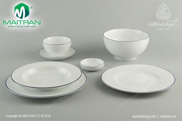 Bộ bàn ăn gốm sứ Minh Long Bộ bàn ăn Camellia Chỉ Xanh Dương 23 sp