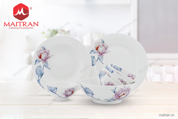 Bộ bàn ăn gốm sứ Minh Long Bộ bàn ăn 9 sp Jasmine IFP Trà Mi
