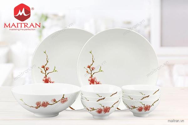 Bộ bàn ăn gốm sứ Minh Long Bộ bàn ăn 9 sản phẩm Daisy IFP Hoàng Đào
