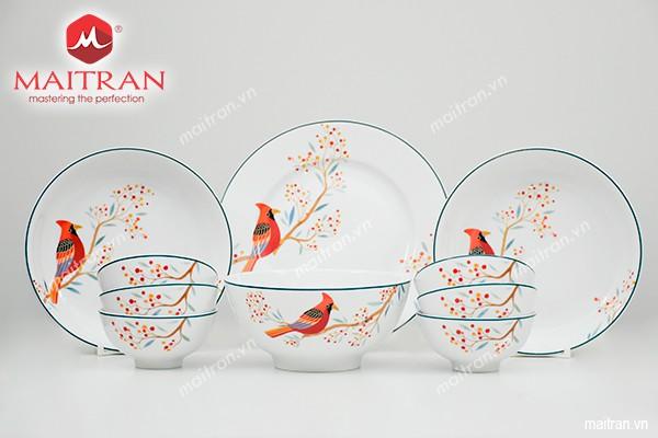 Bộ bàn ăn gốm sứ Minh Long Bộ bàn ăn 10sp Quả Đầu Mùa