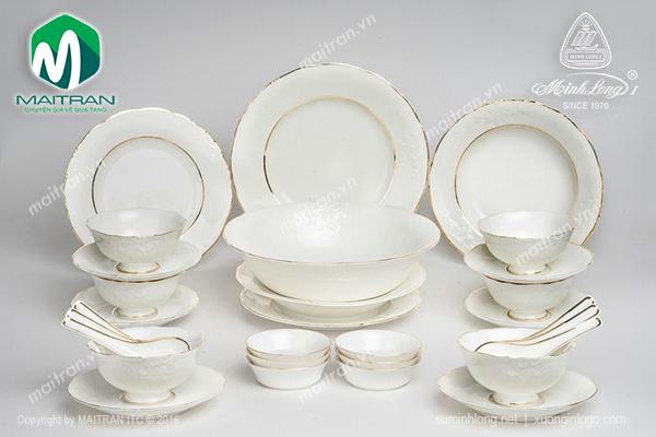 Bộ bàn ăn 30 sp Đài Các Viền chỉ vàng