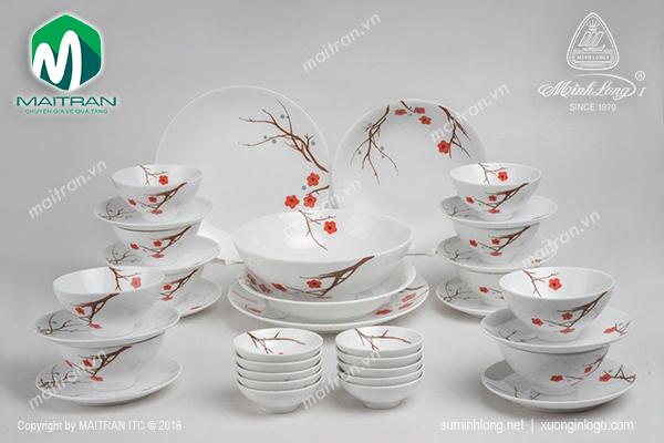 Bộ bàn ăn 36 sản phẩm Daisy Hồng Mai