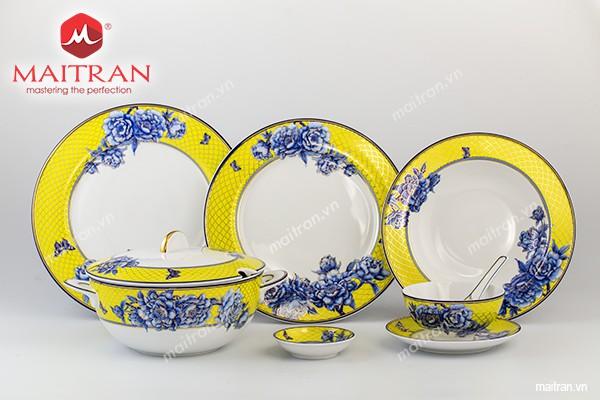 Bộ bàn ăn gốm sứ Minh Long Bộ bàn ăn 45 sp Sago Mẫu Đơn Vàng