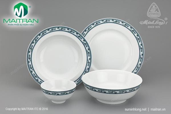 Bộ bàn ăn 9 sản phẩm Jasmine Chim Lạc