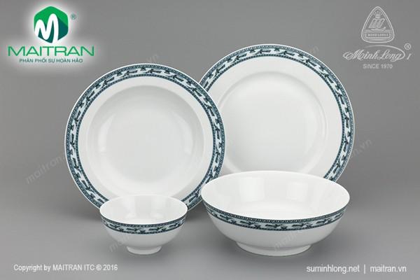 Bộ bàn ăn gốm sứ Minh Long Bộ bàn ăn 9 sản phẩm Jasmine Chim Lạc