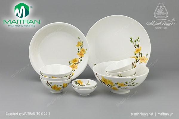 Bộ bàn ăn gốm sứ Minh Long Bộ bàn ăn Daisy IFP Hoàng Mai 11 sp