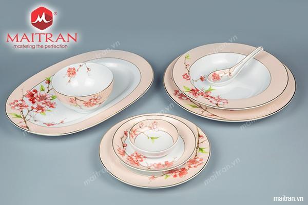 Bộ bàn ăn gốm sứ Minh Long Bộ bàn ăn 23 sp Camellia Hoa Đào