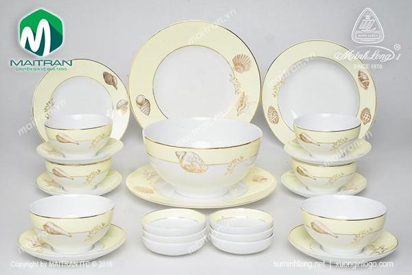 Bộ bàn ăn gốm sứ Minh Long Bộ bàn ăn Camellia Hương Biển Kem 23 sp