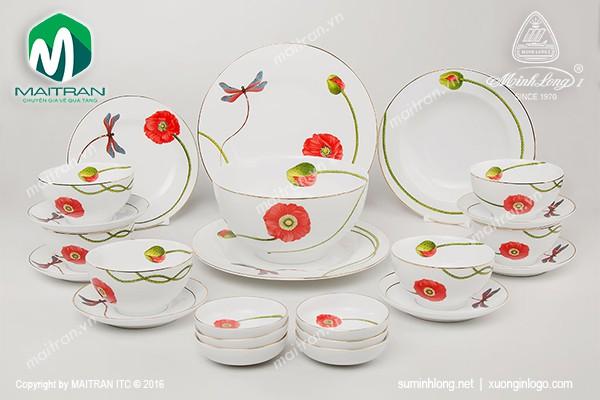 Bộ bàn ăn gốm sứ Minh Long Bộ bàn ăn Camellia Kết Duyên 23sp