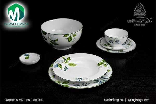 Bộ bàn ăn gốm sứ Minh Long Bộ bàn ăn Camellia Lá Xanh 23 sp