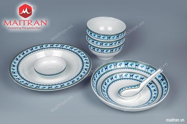 Bộ bàn ăn gốm sứ Minh Long Bộ bàn ăn 23 sp Camellia Lộc Lạc