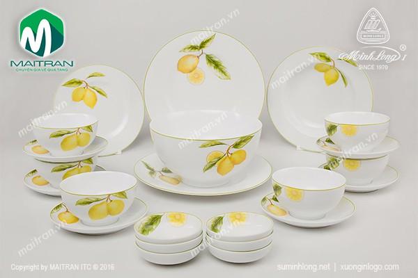 Bộ bàn ăn gốm sứ Minh Long Bộ bàn ăn Camellia Quả Chanh 23 sp