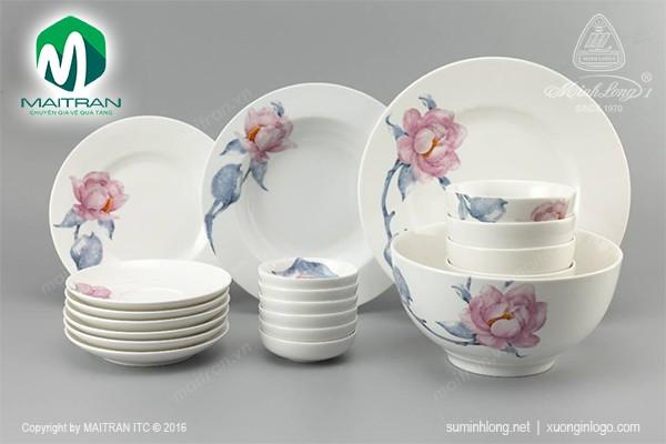 Bộ bàn ăn gốm sứ Minh Long Bộ bàn ăn 22 sp Camellia IFP Trà Mi
