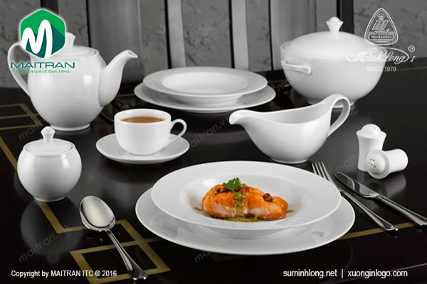 Bộ bàn ăn gốm sứ Minh Long Bộ bàn ăn  23sp Camellia trắng
