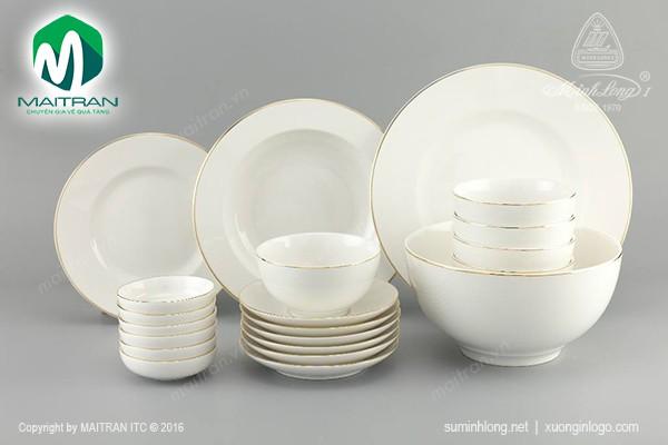 Bộ bàn ăn gốm sứ Minh Long Bộ bàn ăn Camellia IFP Viền Chỉ Vàng 22 sp