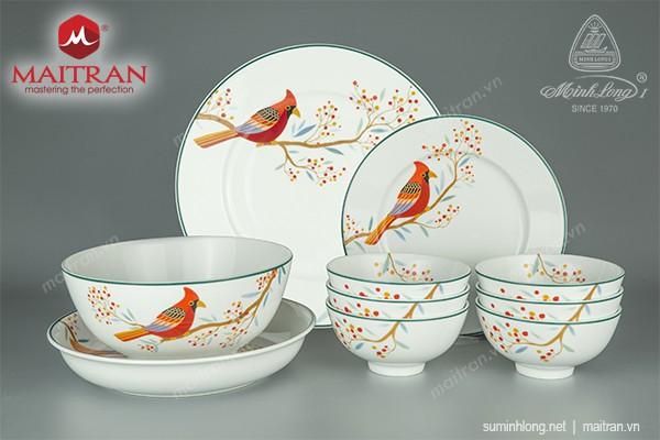 Bộ bàn ăn gốm sứ Minh Long Bộ bàn ăn 23 sp Jasmine Quả Đầu Mùa