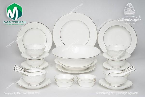 Bộ bàn ăn gốm sứ Minh Long Bộ bàn ăn Đài Các Chỉ Bạch Kim 30 sp